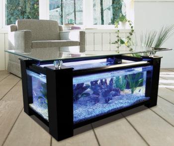 Black Elegant Fish Tank Coffee Table