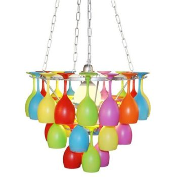 Colored Wine Glass Chandelier