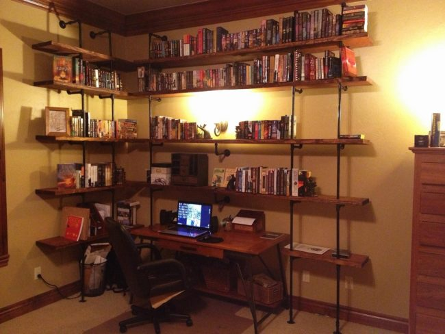 DIY Pipe Bookshelf Desk