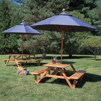 Wooden Picnic Table Umbrella
