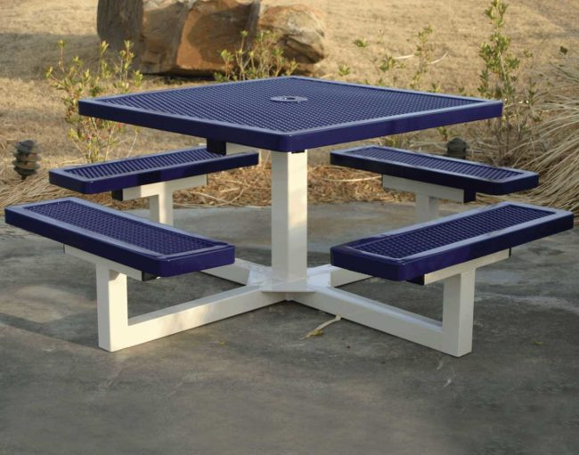 A frame wooden picnic table