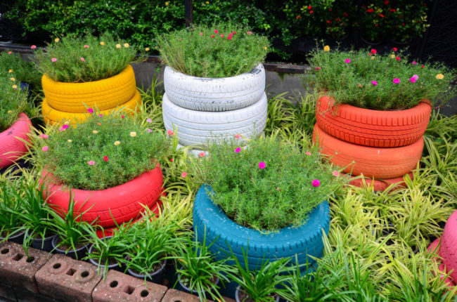 Blooming Tire Planters
