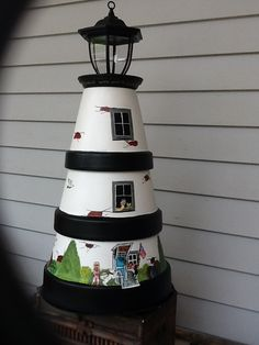 Clay pot lighthouse with solar light