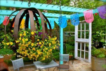 Wine Barrel Garden Art