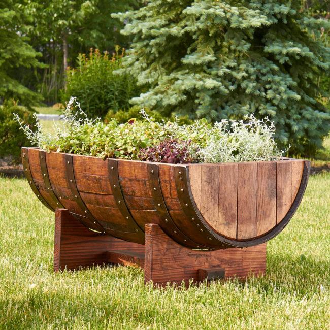 Wine Barrel Half Planter