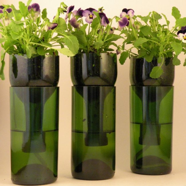 Wine Bottle Flower Planters