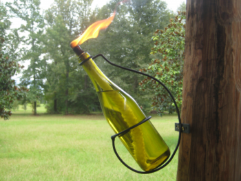Wine bottle tiki torch holder
