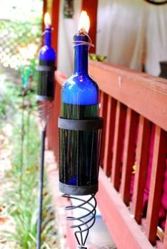 Wine bottle tiki torch stake