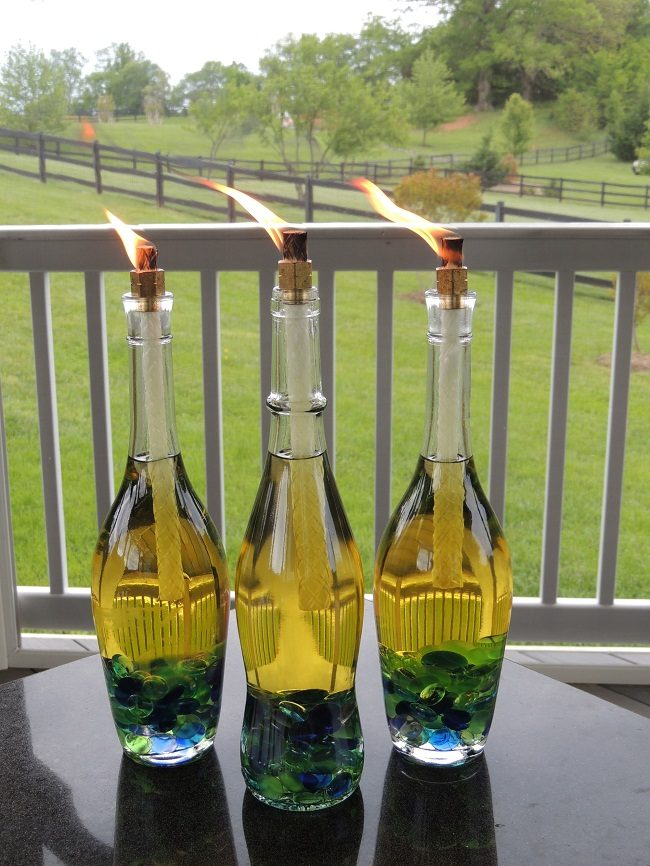 Wine bottle tiki torch washer