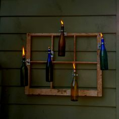 Wine bottle tiki torches homemade