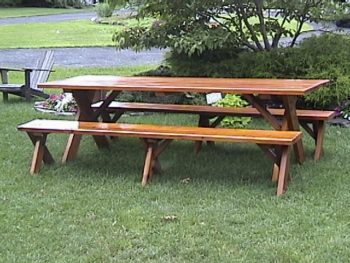 wooden picnic tables detached benches