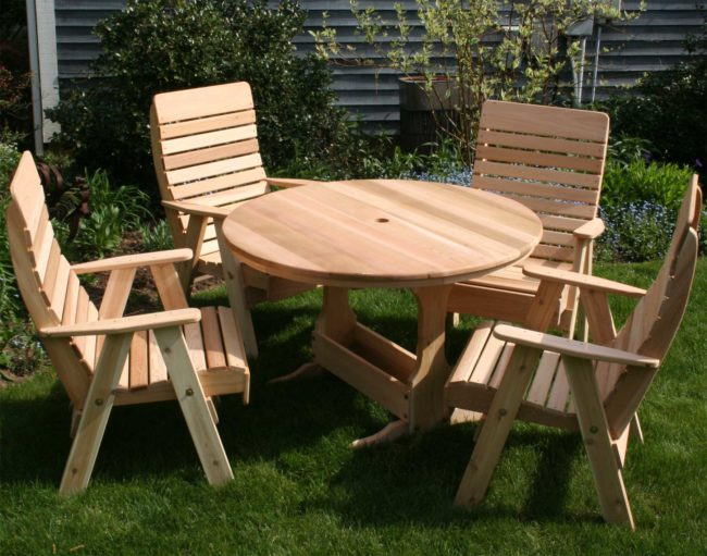 Wooden picnic tables and chairs