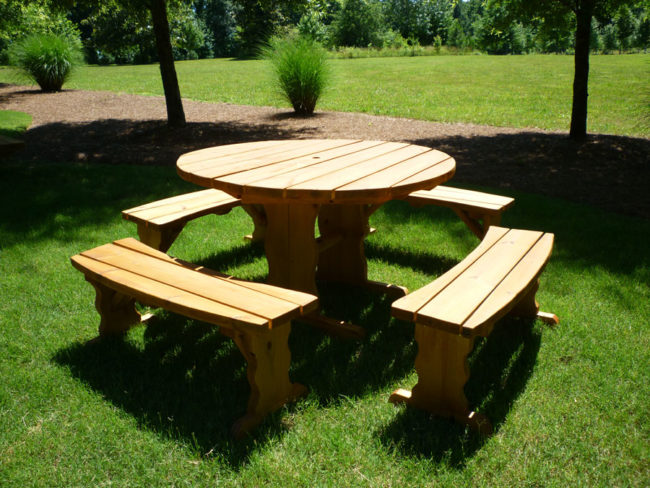 round wood picnic table kit