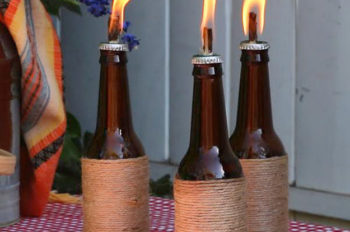 tiki torch made from wine bottle