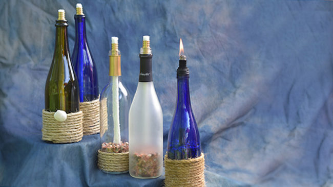 turn wine bottle into tiki torch
