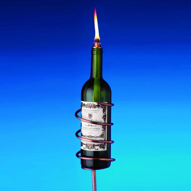 wine bottle tiki torch copper