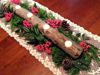 Christmas Log Candle Holder