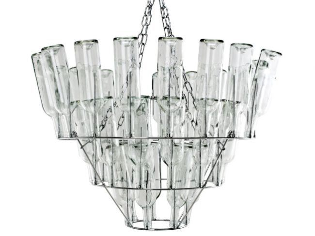 Clear Wine Bottle Chandelier