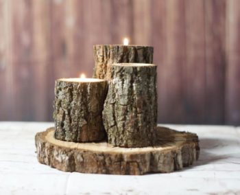 21 homemade log candle holders inhabit zone for Log candle holder how to make