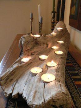 Driftwood Log Candle Holder for Wedding