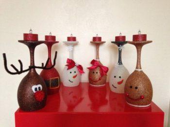 Glitter Wine Glass Candle Holders