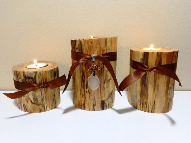 Log Pillar Candle Holders