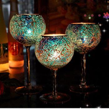 Mosaic Wine Glass Candle Holder