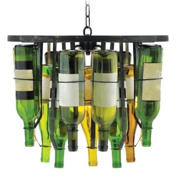 Upside Down Wine Bottle Chandelier