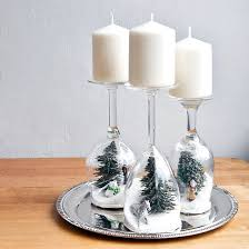 Wine Glasses for Christmas Candle Holders