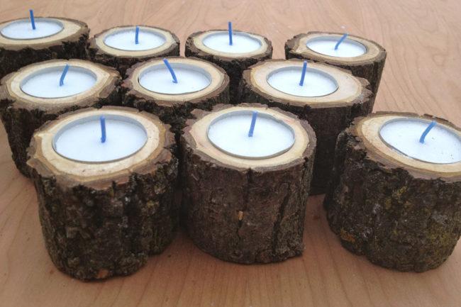 Wooden Log Candle Holder