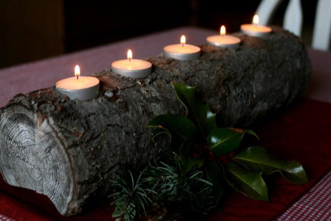 Yule Log Candle Holder