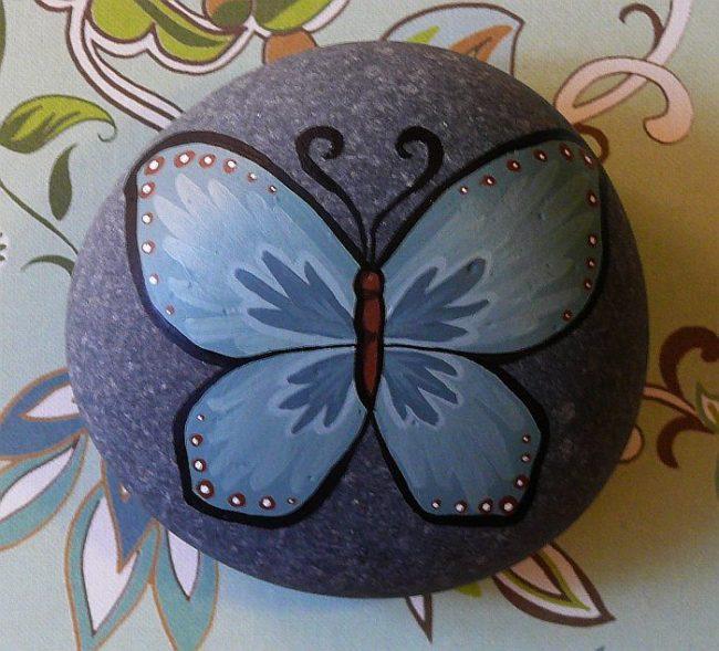 Butterfly Art on Rock