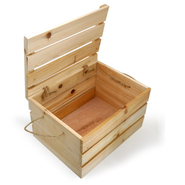 Wooden crate storage boxes