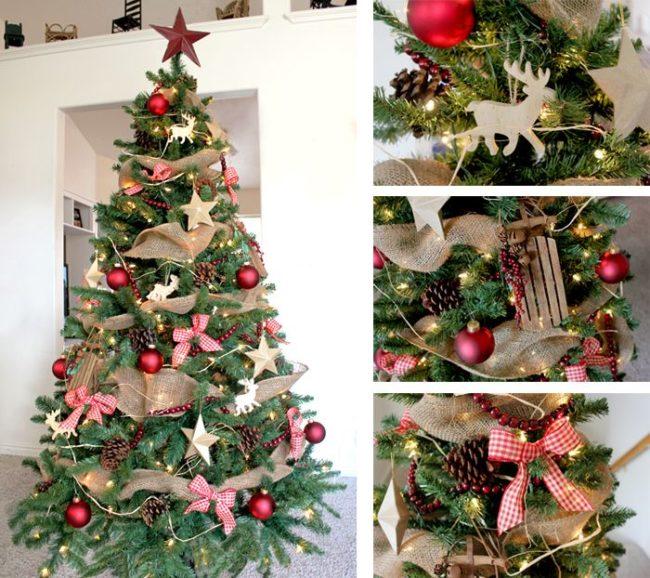 Burlap Garland on Christmas Tree