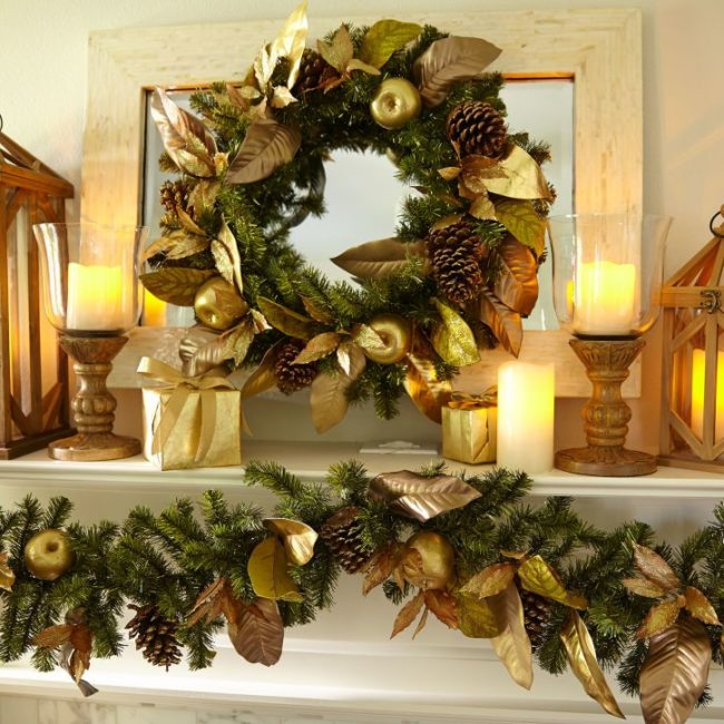 12 easy to create leaf garland ideas inhabit zone for Christmas garland on fireplace