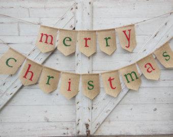 Merry Christmas Burlap Garland