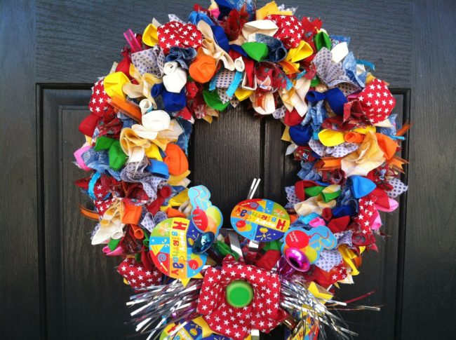 Ribbon Wreath with Balloons