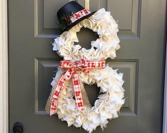 Snowman Front Door Wreaths