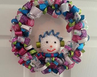 Snowman Ribbon Wreath
