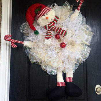 Snowman Wreath Deco Mesh
