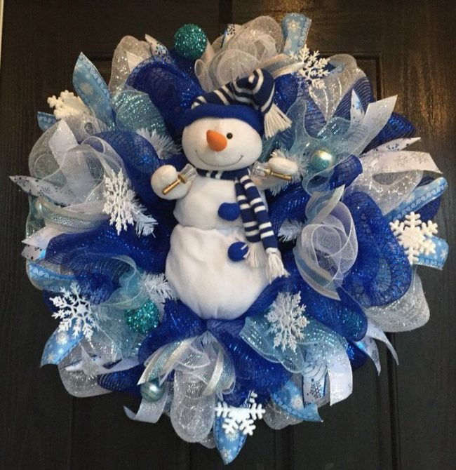 Snowman Wreath with Deco Mesh