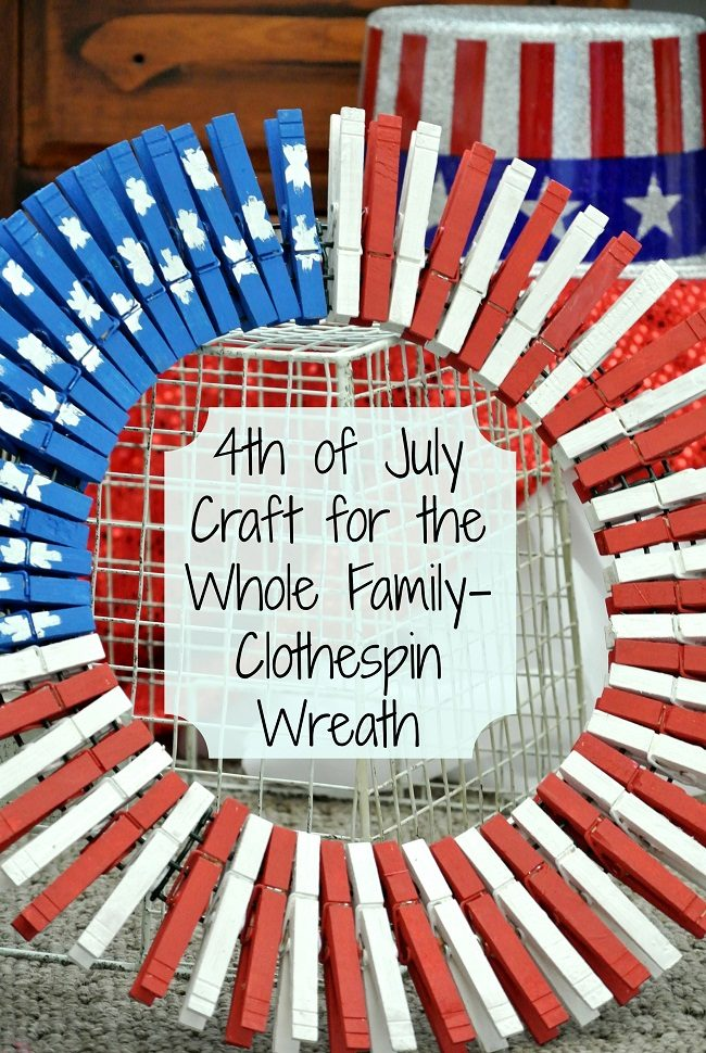 Clothespin wreath 4th of July