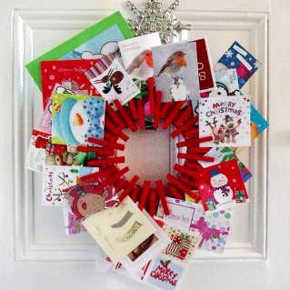 Clothespin wreath card holder