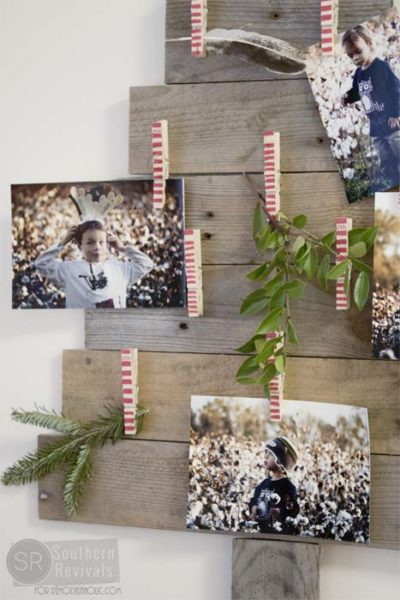 Wooden Christmas Tree Photo Holders