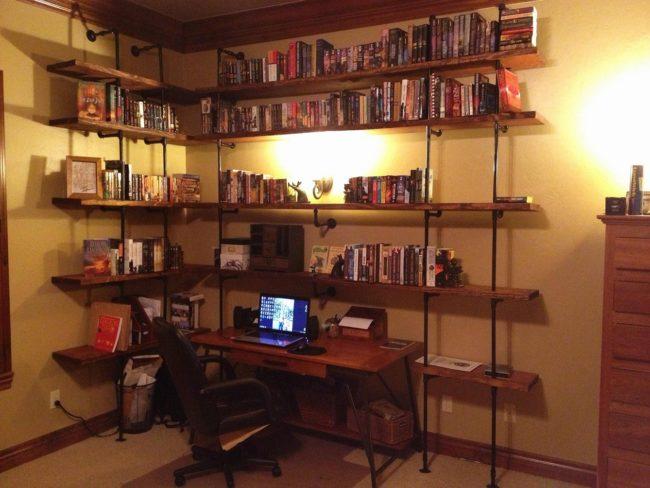 DIY Pipe Bookshelf Desk