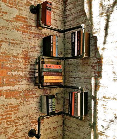 Pipe Bookshelf Corner