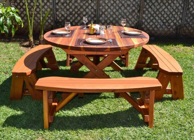 Wooden Picnic Tables with Attached Benches