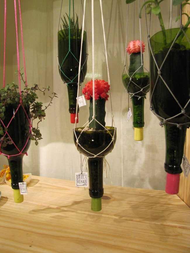 DIY Hanging Wine Bottle Planter