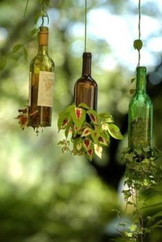 Hanging Wine Bottle Planter