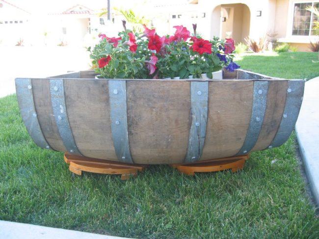 Large Wine Barrel Planter